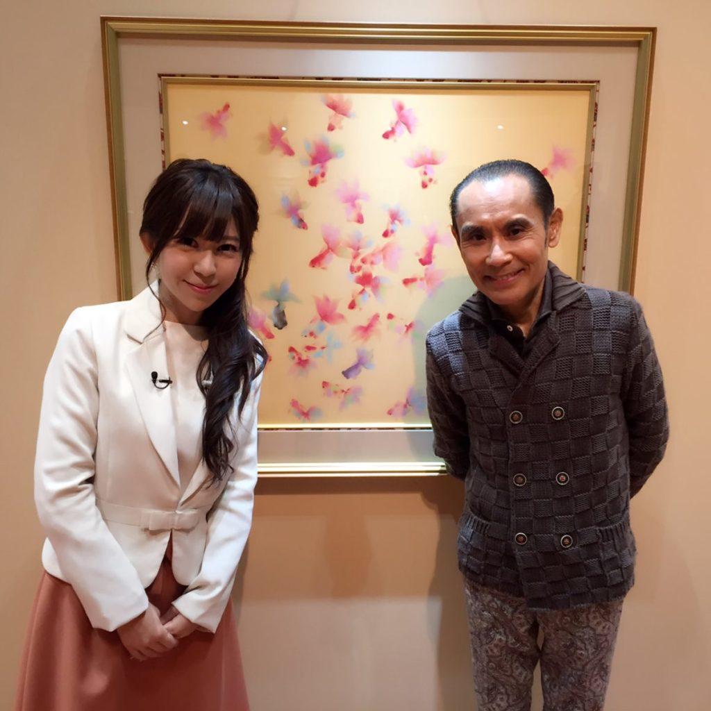 「片岡鶴太郎展」の中継にて、鶴太郎さんと☆